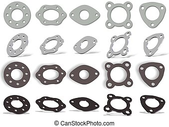 Gaskets set - Collection of white and brown 3d gaskets