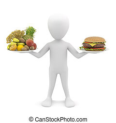 3d man holding fruit and hamburger 3d image On a white...