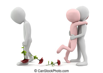 Love for two. 3d image. On a white background.