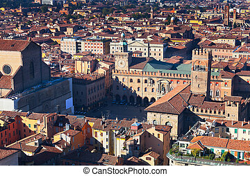 aerial view on Piazza Maggiore from Asinelli tower in...