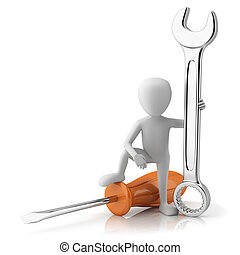 Master mechanic 3d image On a white background