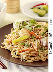 Spicy Noodles - Spicy fried noodles an oriental food cuisine
