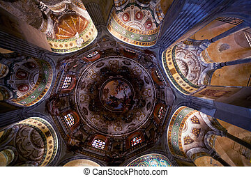painted Ceiling in Basilica San Vitale in Ravenna - RAVENNA,...