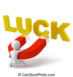 The attraction of luck. 3d image. On a white background