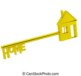 The key to my house. 3d image. On a white background
