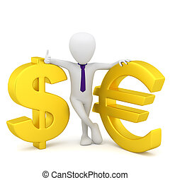 3d small people - dollar sign and euro.