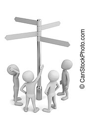 3d small people choose. 3d image. On a white background.