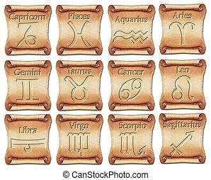 Conjunto, zodíaco, símbolos, antiguo, rollosde...