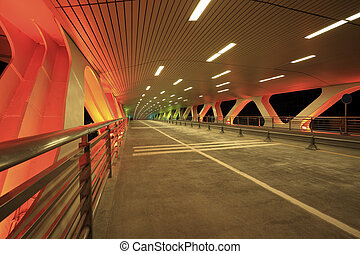 Red night of the bridge - Highway bridge at red night