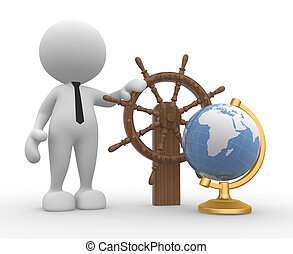 Helm - 3d people - man, person with a ship steering wheel...