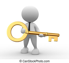 Key - 3d people - man, person with a gold key.