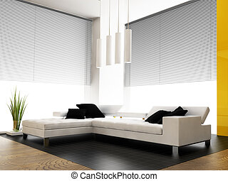 modern interior - living-room with the modern furniture 3d...