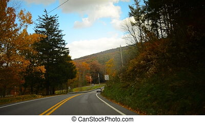 Time lapse drive in fall - Time lapse of a drive through a...