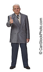 Optimist senior man with thumb up against a white background...
