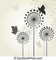 Three dandelions2 - The butterfly sits on a flower a...