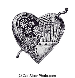 Mechanical heart - Hand drawn illustration of mechanical...