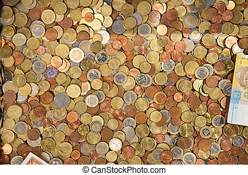coins of the different countries - background from coins of...