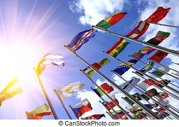 World Flags blowing in the wind - World flags