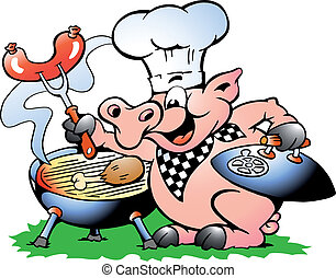 Chef Pig standing and making BBQ - Hand-drawn Vector...