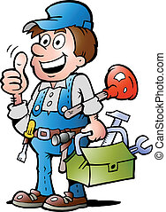 Plumber Handyman, giving thumb up - Hand-drawn Vector...