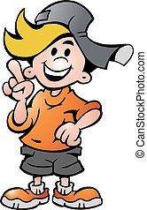 happy School Boy Pointing - Hand-drawn Vector illustration...