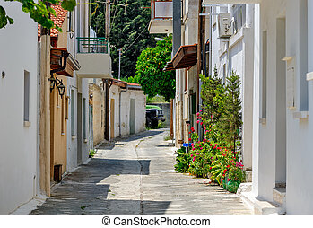 Narrow street in old village Omodos on Cyprus