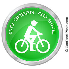 Go green go bike button isolated on white background