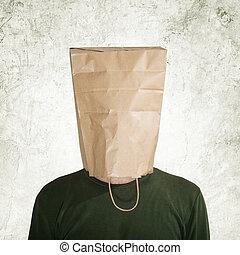 Hidden behind paper bag - head in the paper bag, man hidden...