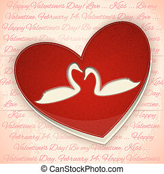 Valentines Card Heart with Swans - Valentines Greeting Card....