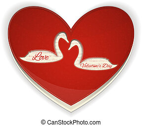Valentines Heart with Swans on White Background Vector...