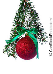 red ball on fir branch with ribbons and bow isolated on...