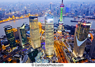 shanghai - aerial view of shanghai at night from jinmao...