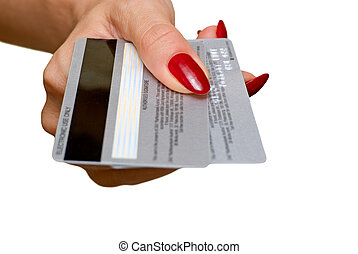 Credit cards - The female hand holds two credit cards