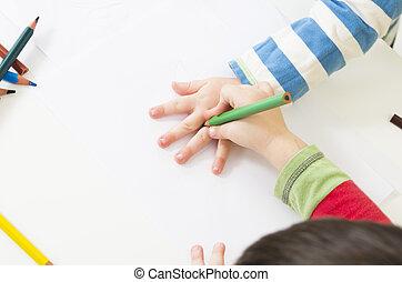 um, criança, delinear, ao redor, mão, outro