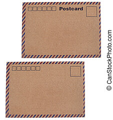 Kraft paper postcards - Isolated white background of kraft...
