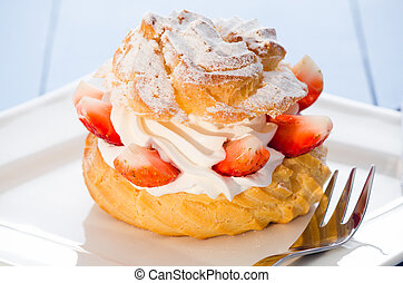 cream puff - fresh cream puff with whipped cream and...