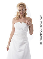 pretty blonde bride in front of the camera