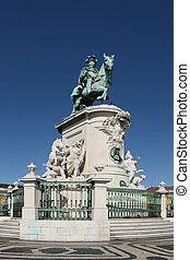 "Statue of ""King Jose"" - Praca do Comercio, in Lisbon,..."