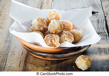 fried dessert balls - Golden fried dessert balls covered...