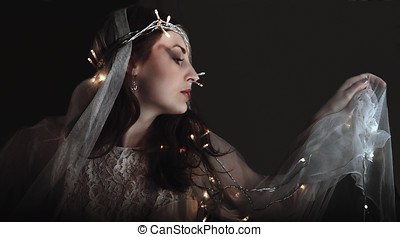 Fairy with lights, beauty at midnight