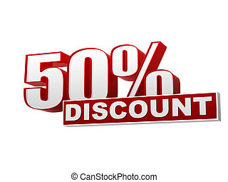50 percentages discount red white banner - letters and block...