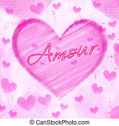 rosa, cuore, vecchio, carta,  Amour, strisce