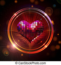 shining disco heart - 3d shining red disco heart in golden...