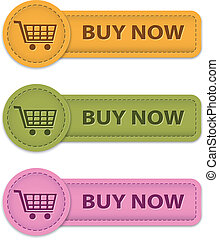 Buy Now buttons for online shopping made of leather. Vector...