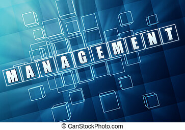 blue management in glass blocks - management text in 3d blue...