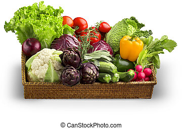 wicker basket of fresh vegetables isolated on white background