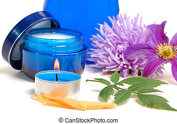blue cosmetic cream - blue cosmetic cream,lotion, candle,...