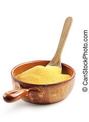 legno, mais, cucchiaio, ciotola, farina
