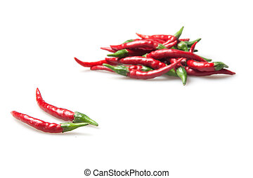 red hot chilli peppers isolated on white