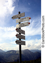 In the Allgaeu Alps - A signpost with many signs before the...